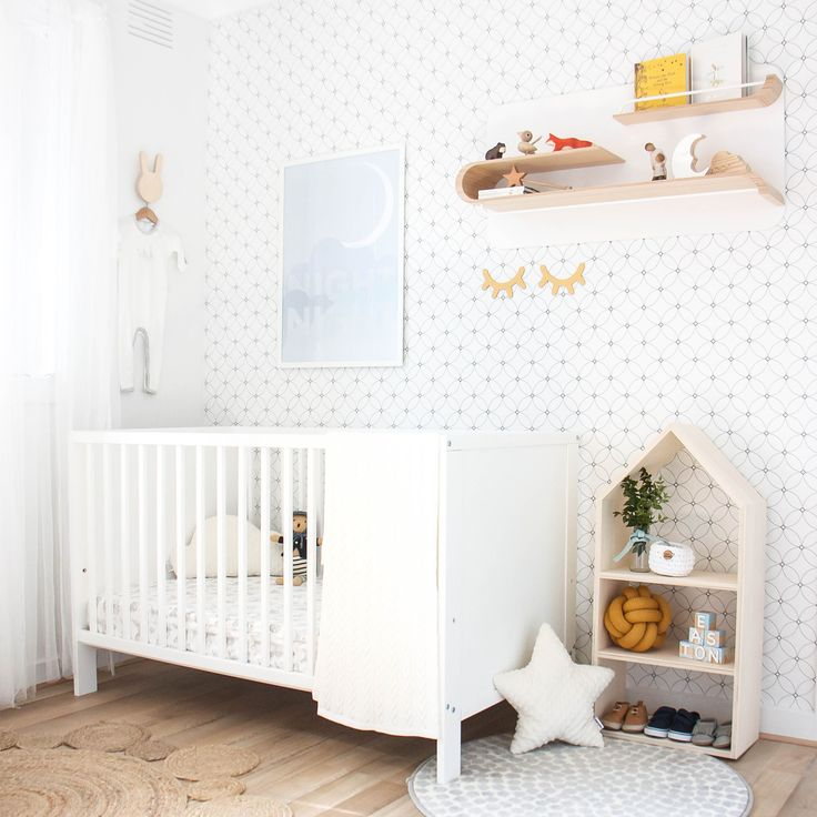 Neutral nursery with pops of mustard yellow by Belinda from Top Knot Mum. Featuring removable wallpaper by BC Magic Wallpaper.