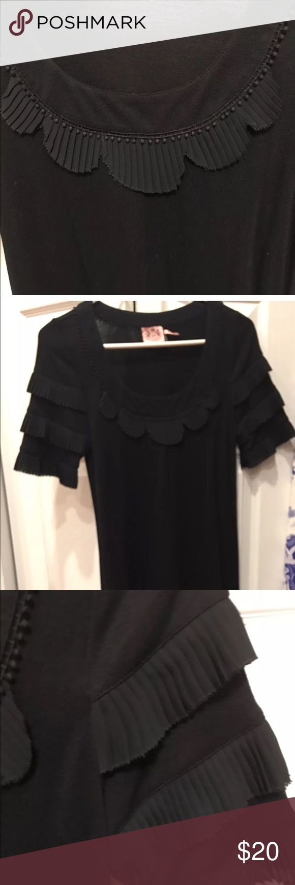 """Juicy Couture little black dress Great shape.  Nice ruffled detail around collar and sleeves. I am 5 7"""" and it hits just slightly above the knee. Really cute! Juicy Couture Dresses"""