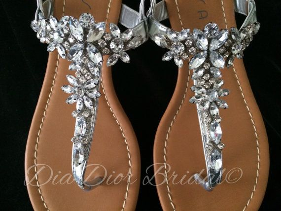 Crystal embellished sandal rhinestone wedding flat sandal for Flat dress sandals for weddings