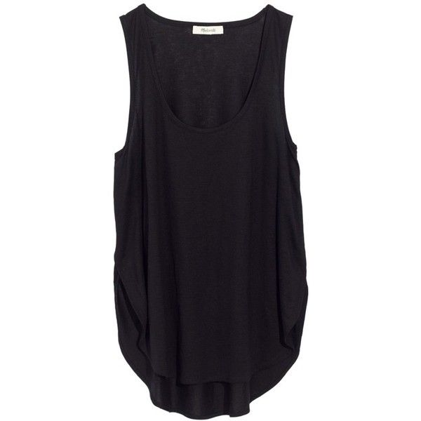 Women's Madewell Strum Crossover Tank ($40) ❤ liked on Polyvore featuring tops, true black, madewell tank, draped tops, scoop neck tank, surplice top and surplice tank top