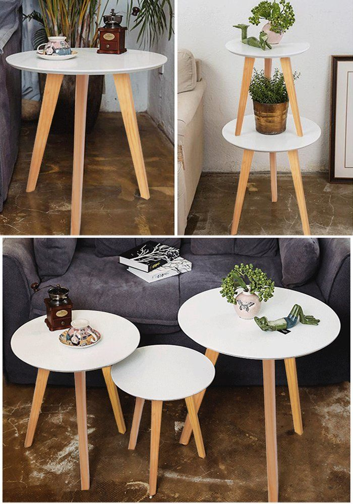 White Round Coffee Table With Wooden Legs A Set Of 3 Wooden Tea Table Nesting Tables Multifunctional White Round Coffee Table Living Room Table Coffee Table