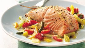 Gluten-Free Basil Salmon and Julienne Vegetables