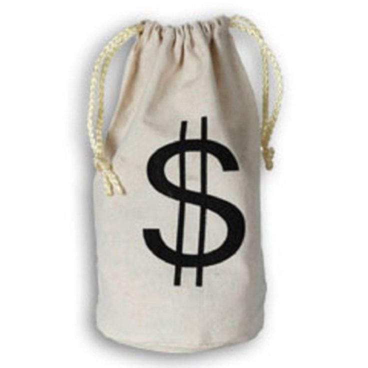 Small Dollar Sign Canvas Drawstring Money Bag Accessory - Brought to you by Avarsha.com