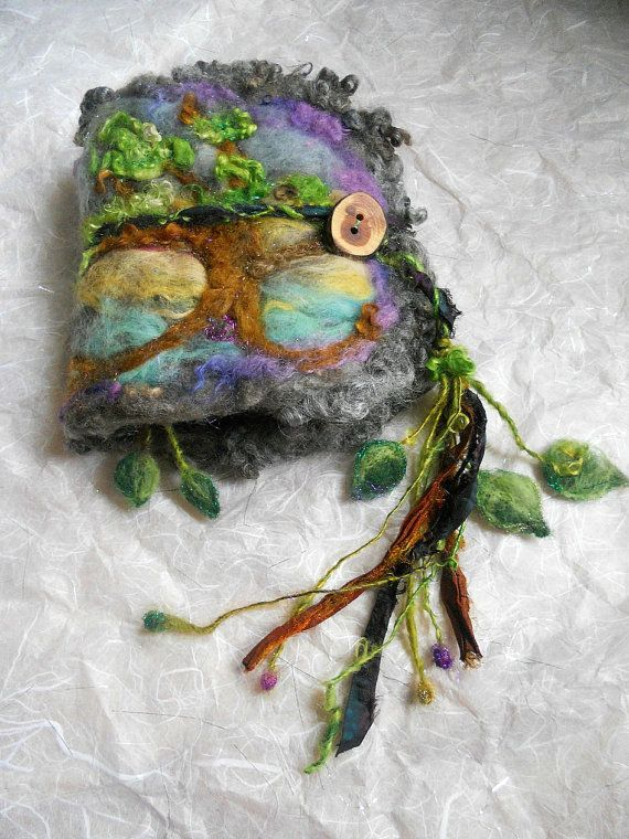 rustic needle felted wool journal enchanted forest artbook - nature goddess tree
