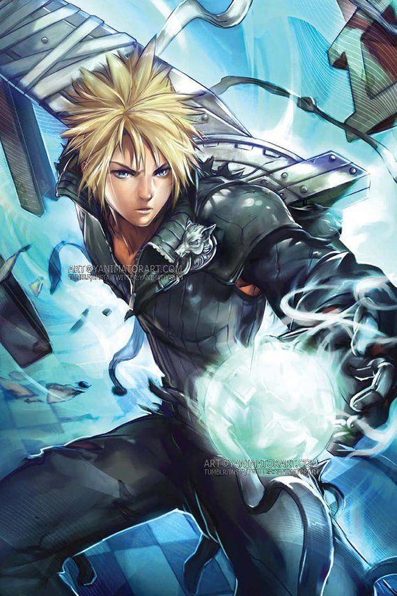 Final Fantasy 7 Vii Cloud Strife Poster Print Wall Art Jrpg