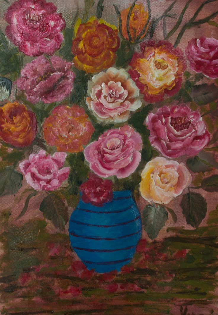 Vas albastru - acrilice - (25x38cm) Blue vase by   Veronica Ciobanu