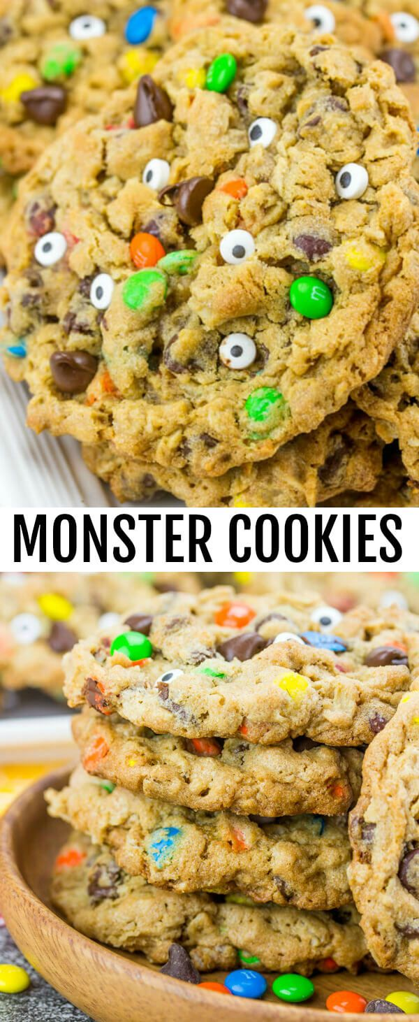 Monster Cookies {A Fun Halloween Treat for the Kids} cookies/monster cookies/halloween Soft, chewy and downright delicious these Monster Cookie are a fun and spooky recipe that the whole family will love. via @amiller1119