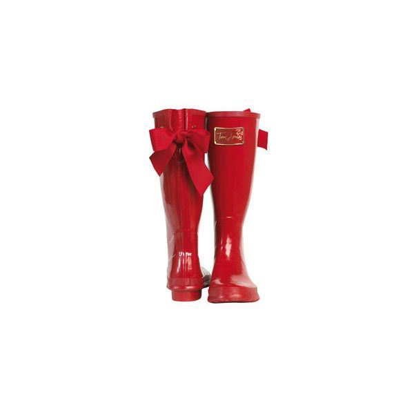 Joules (UK) POSH WELLY Womens welly with Bow ($30) ❤ liked on Polyvore featuring shoes, boots, red, wellies, footwear, joules boots, bow rain boots, rain boots, bow boots and red boots