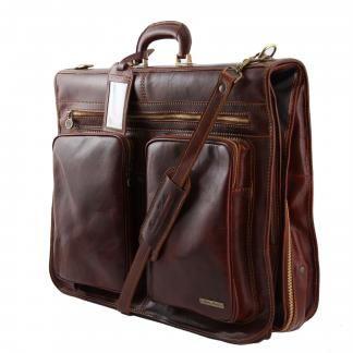 Porta abiti in pelle da viaggio e lavoro due tasche con fibbia Tuscany Leather