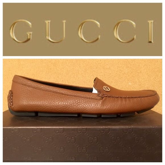 Gucci Brown Pebbled Leather Loafer Authentic Gucci Qardaha Moccasin Toe Driving Loafer. New in box. Brown pebbled leather. Women's Shoe, EU Sz 39, US Sz 9. I can provide the original receipt for proof of authenticity on request. All reasonable offers will be considered. Gucci Shoes Flats & Loafers