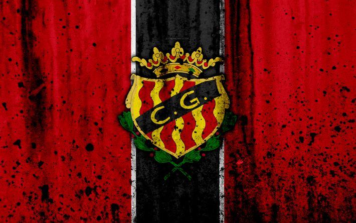 Download wallpapers 4k, FC Gimnastic, grunge, Segunda Division, art, soccer, football club, Spain, Gimnastic, logo, LaLiga2, stone texture, Gimnastic FC