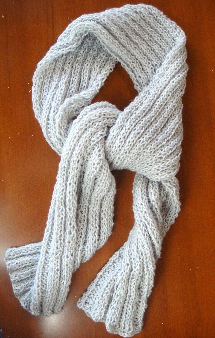 Bufanda para hombre tejida en lana con dos agujas punto - Como hacer punto de lana paso a paso ...