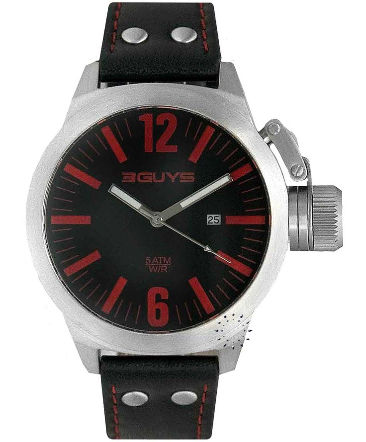 3GUYS Black Leather Strap Μοντέλο: 3G11404 Η τιμή μας: 107€ http://www.oroloi.gr/product_info.php?products_id=33999