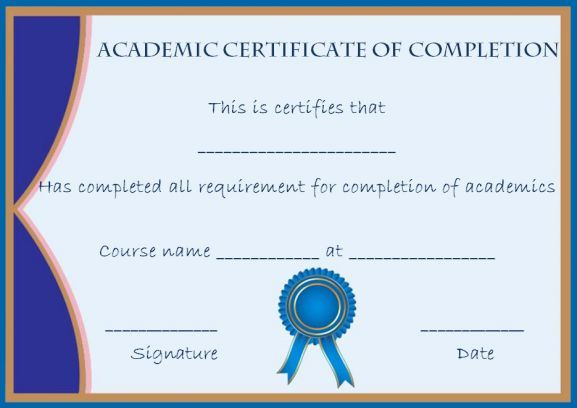Academic Certificate Of Completion Template  Certificate Of