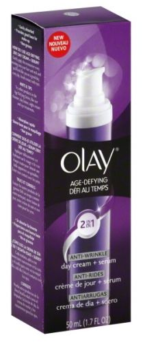 Olay 2 in 1 Age Defying Wrinkle Day Cream. just bought it. heard amazing things. my skin really did feel great after applying it. great base for makeup too!