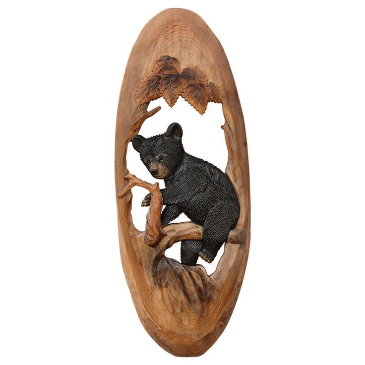 Black Bear Cub Oval Wood Carving Wall Art