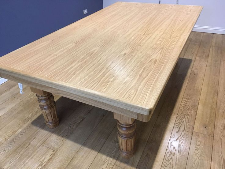 8ft Pool Dining Table in Oak & Blue - Pool Table