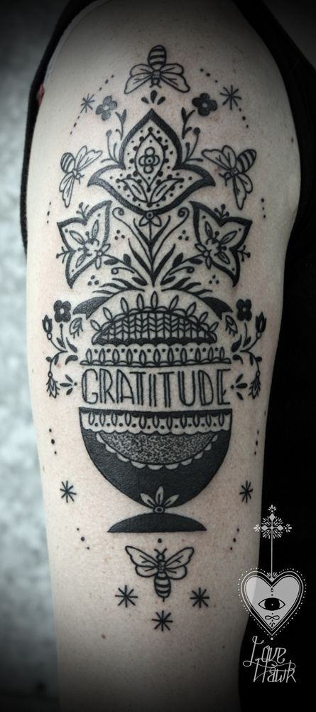 Gratitude tattoo - DAVID HALE IS AN ILLUSTRATOR, ARTIST, TATTOOIST, AND HUMBLE SERVANT TO CREATION.  HE LIVES IN ATHENS, GA WHERE HE OWNS AND OPERATES LOVE HAWK STUDIO.