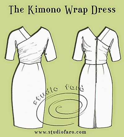A sophisticated party dress! #PatternPuzzle - The Kimono Wrap Dress http://www.studiofaro.com/well-suited/pattern-puzzle-the-kimono-wrap-dress #PatternMakingClasses #sydney