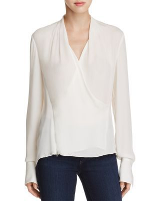 fca682fde8baf0 Elie Tahari Shelly Faux Wrap Silk Blouse | Bloomingdale's | Clothes ...