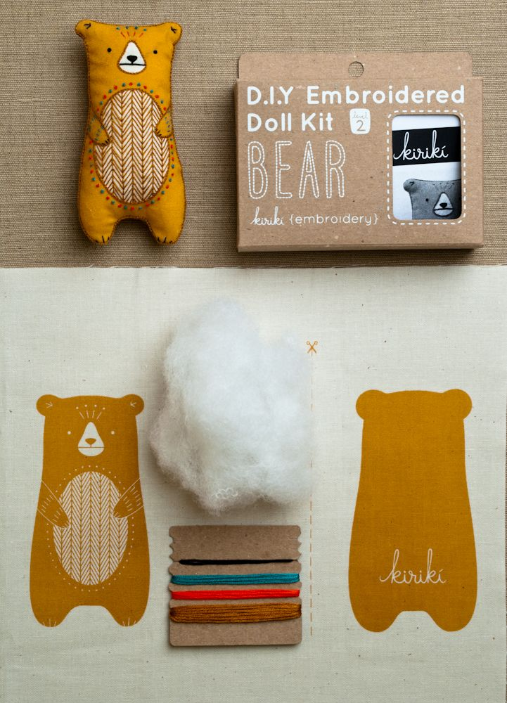 Embroidery Kits from Kiriki:Each kit comes with a printed backing fabric, stuffing, and…