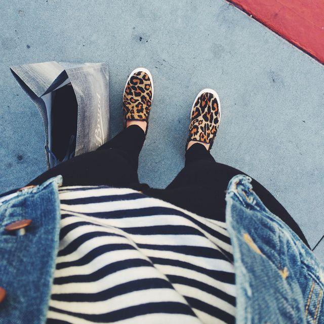 Striped Tee + Jean Jacket + Black Jeans + Leopard Slip Ons // Crystalin Marie