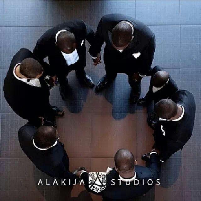 Groom and groom's men prayer