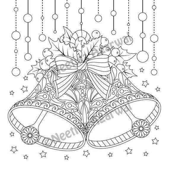 Christmas Bells Adult Coloring Page Christmas Coloring Page Printable Coloring Page Digital Kolorowanki Rysunki Grafika