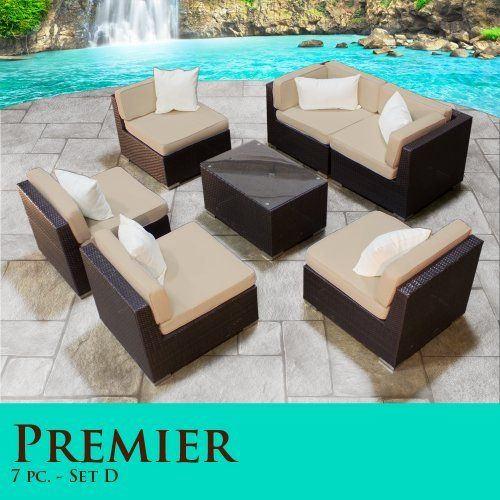 """Premier Modern 7 Piece Outdoor Wicker Patio Sofa Sectional Furniture All Weather Set 07D by TK Classics. $1443.00. """"No Sag"""" solid wicker bottoms with extra flexible strapping providing long-lasting suspension. Zippered cushion covers made with Outdoor UV Protected Fabric - Removable and Washable. Strong and rust resistant Powder Coated Aluminum Frame for maximum durability. High Density PE (polyethylene) recyclable wicker - NOT made with PVC which is toxic and non-rec..."""