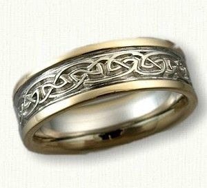 Celtic Broxburn Wedding Band Shown In 14kt Two Tone Gold BandsRock