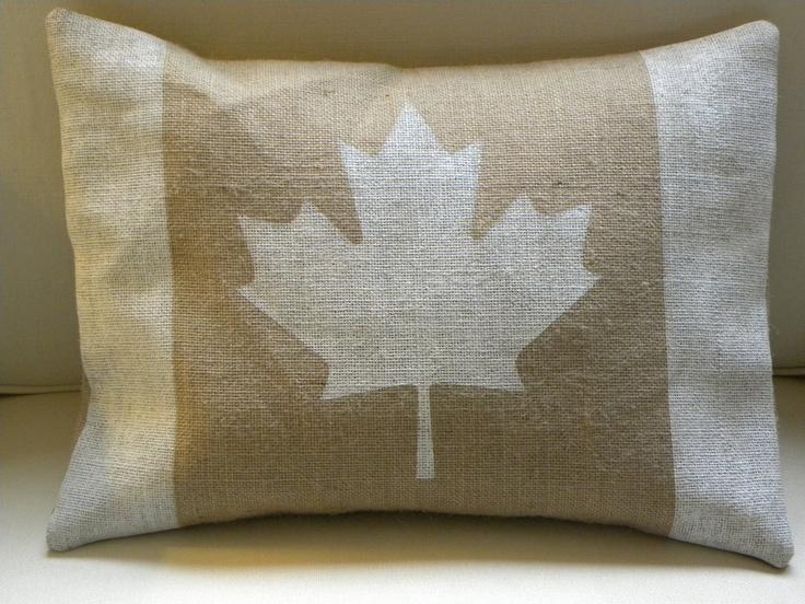 Snowy white Canada flag pillow cover. $26.00, via Etsy.