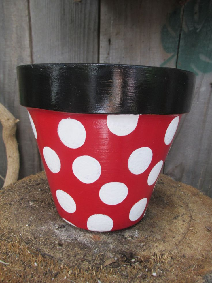 Minnie Mouse Inspired Flower Pot Mickey Flower Pots
