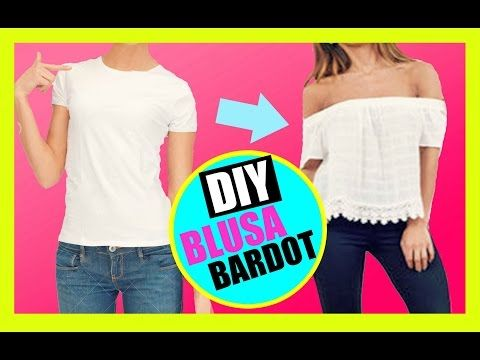 DIY blusa hombros al aire/ off the shoulder top - YouTube