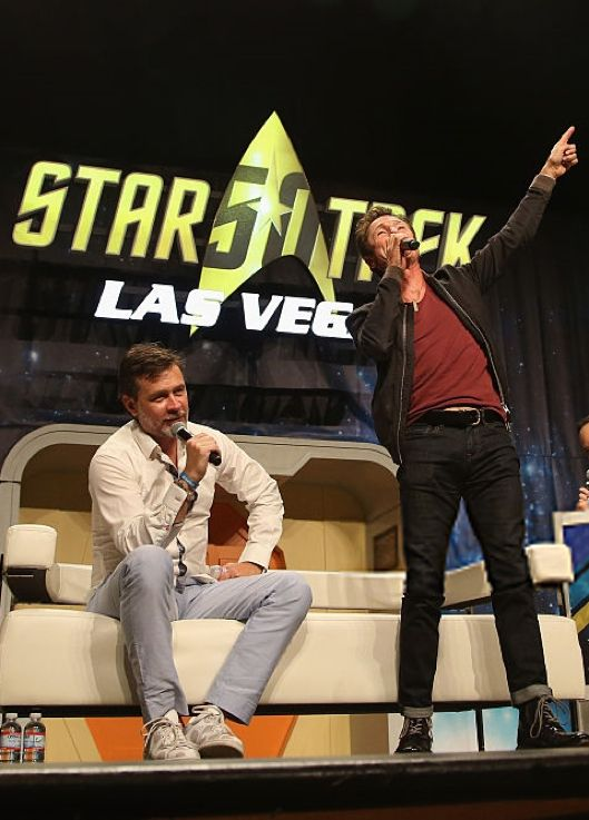 Connor Trinneer and Dominic Keating speak during the 'A Look at Enterprise' panel at the 15th annual official Star Trek convention at the Rio Hotel & Casino on August 3, 2016 in Las Vegas, Nevada. Photo by Gabe Ginsberg (edited)