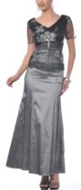 Zeilei M1001 Embroidery Short Sleeve Charcoal Mother of Bride Party Dress