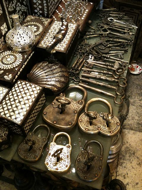 old locks, keys, boxes