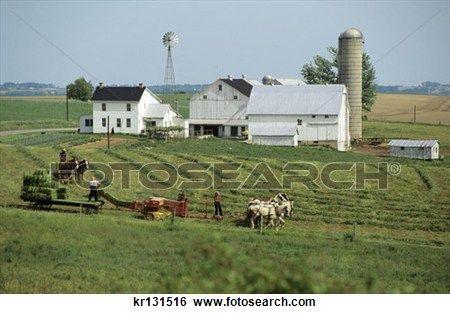amish, ferme, comté lancaster, pennsylvanie, agriculteurs, machinerie, chevaux Voir Image Grand Format