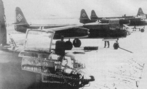 Arado 234 jet bombers at an airfield