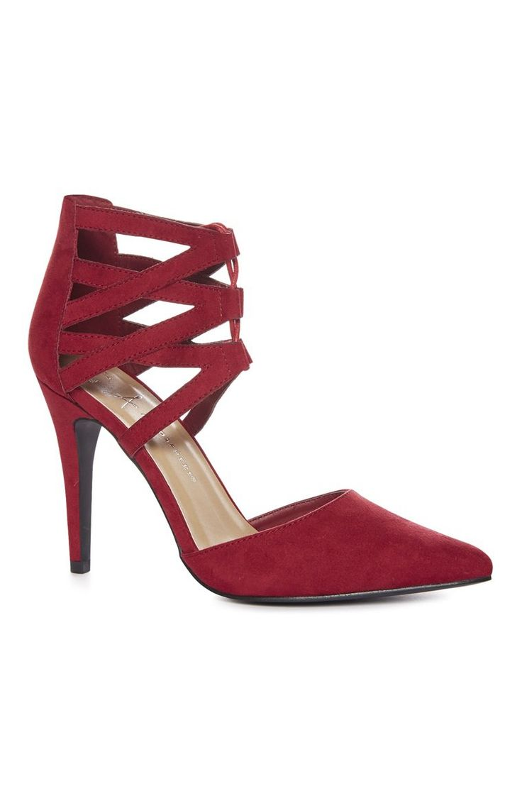 A Stylish Red Cutout Ghillie Heel  For Primark Ladies