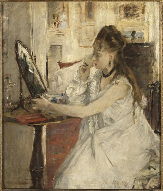 For a brief time Berthe Morisot was bigger than Monet, Renoir and Pissarro,    before their work eclipsed hers. A new book examines why it has taken so    long for her genius to be acclaimed    'Young woman powdering her face', 1877, by Berthe Morisot