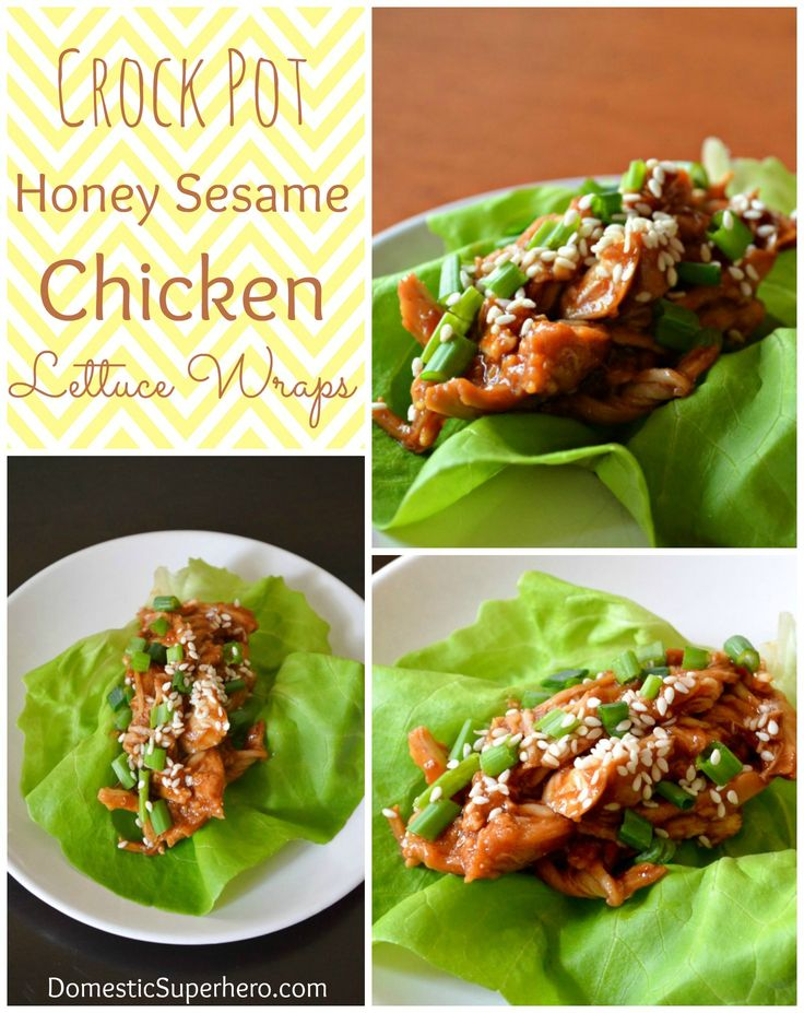 Crock Pot Honey Sesame Chicken Lettuce Wraps
