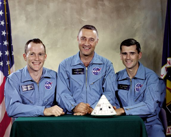"""Pictured are the three Apollo 1 prime crewmembers intended for the first manned Apollo space flight: (L to R) Edward H. White II, Virgil I. """"Gus"""" Grissom, and Roger B. Chaffee. A fire inside the Apollo Command Module during a test took the lives of all th"""