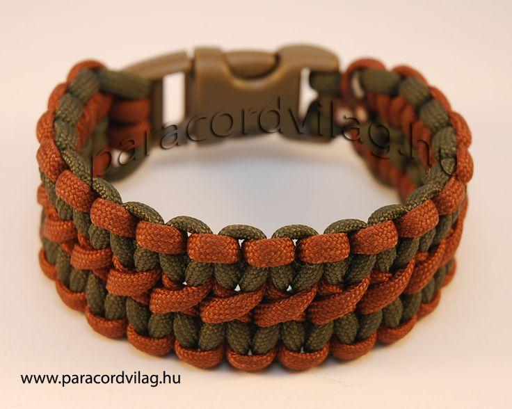 Paracord Dupla kobra karkötő/Katonai zöld-Világos barna