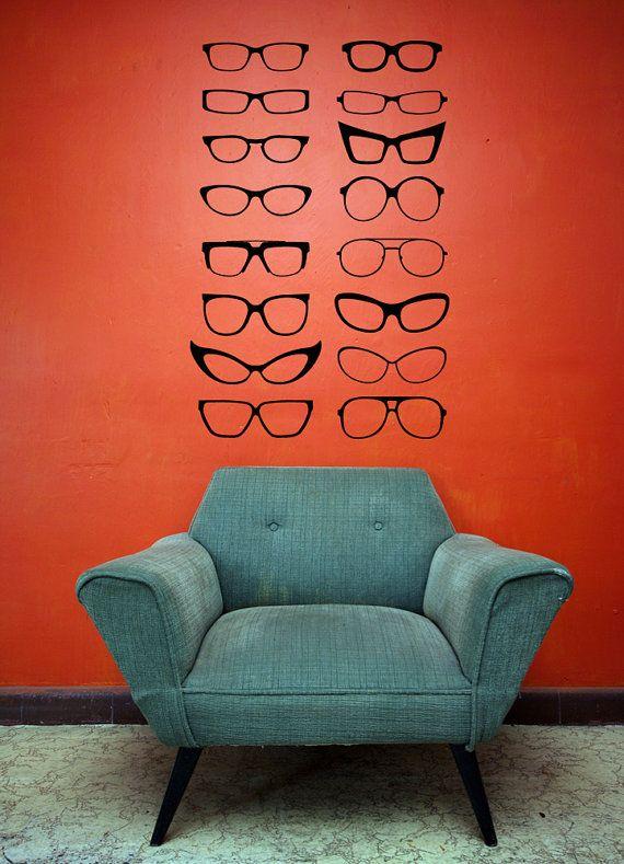 Four Eyes, Eye Glasses, Cat Eyes, Frames - Decal, Sticker, Vinyl, Wall, Home, Optometrist, Office Decor