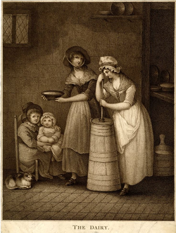 Joseph Barney: The Dairy. 1794. Two young women, one churning milk, the other holding a bowl of milk about to give it to a cat sitting on the flagged floor by a woman who sits in a low chair with a child on her knee, with a full pail on the floor and bowls of milk on a shelf above.