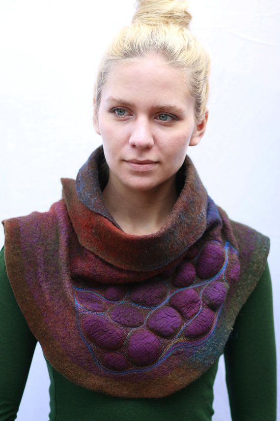 Nuno felted scarves - Felted Scarf - Felt Cowl - Avant Garde Nature