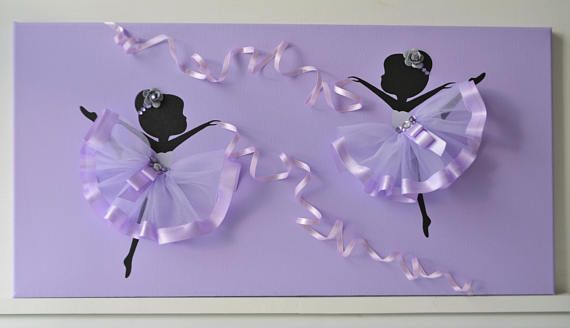 Large 12X24 canvas with two dancing ballerinas. Canvas background and ballerina silhouettes are painted with acrylic paint. Dancers are decorated with tulle skirts, silk ribbons and rhinestones. Custom orders are always welcome.