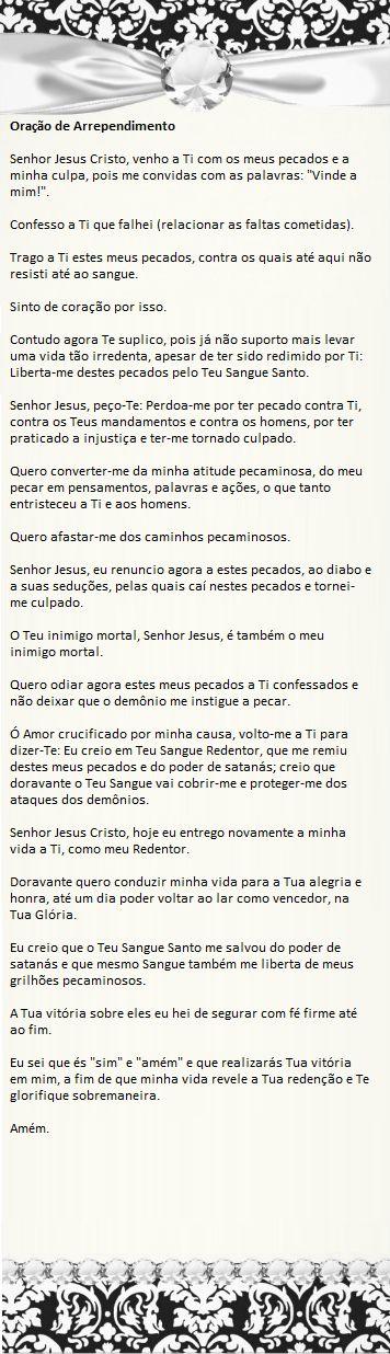 Comunhão Católica: Oração de Arrependimento