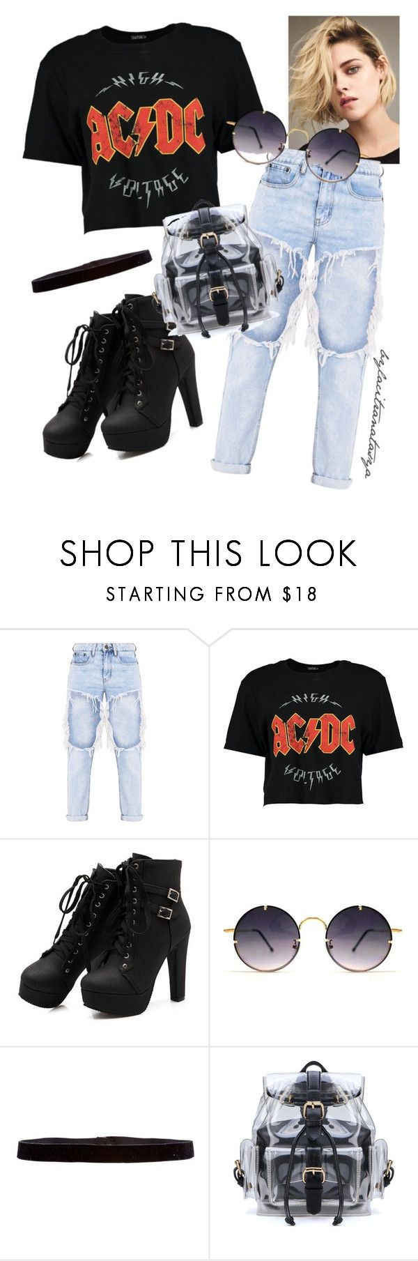 BLACK T-SHIRT X JEANS by bylacitranatasya on Polyvore featuring Boohoo, Steve Madden and Spitfire