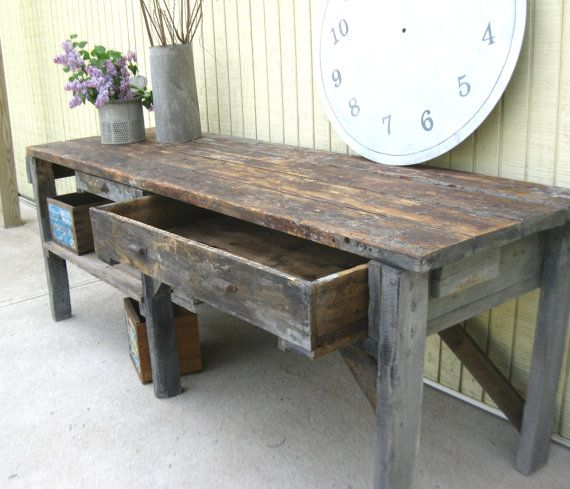 Vintage Primitive Workbench Or Garden Potting Bench